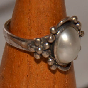 925 sterling silver floral ring flower white 6.5